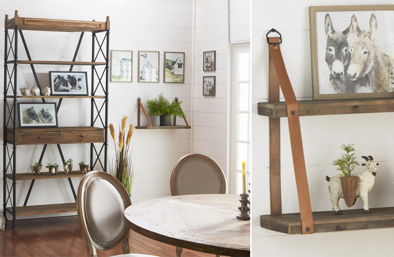 Wood Shelf With Leather Straps Floating Shelf With Leather Straps Decor Steals