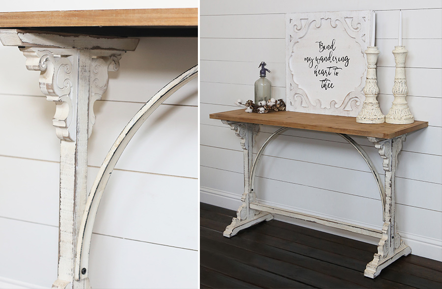 Aged White Corbel Console Table